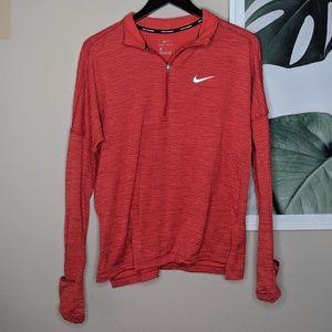 Nike Dri-Fit Red Textured Quarter Zip Pullover